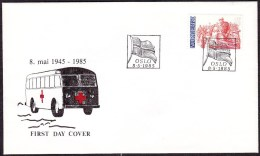 """NORWAY - Liberation (Mi # 920) 40th Anniv. 1985 - FD-cover With Red Cross """"White Bus"""" - FDC"""