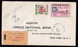 Uruguay: Registered Airmail Cover To USA, 1957, 2 Stamps, Diligence, Flower, R-label (crease, Minor Discolouring) - Uruguay
