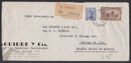 Uruguay: Registered Airmail Cover To USA, 1950, 2 Stamps, Cheap Perforation, R-label (serious Damage!) - Uruguay