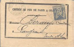FRANCE --- LAC  Chemin De Fer De Paris à Orléans 15 C. Bleu Type SAGE -- Càd LANGEAIS 12 Déc.1895 - 1876-1898 Sage (Type II)
