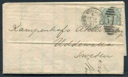 1881 GB QV Newcastle Quayside Duplex Mecantile Chambers Entire - Sweden - Briefe U. Dokumente