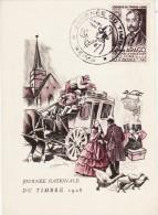 N117 Carte Postale Journée Nationale Du Timbre 1948 Cachet Journée Du Timbre 6 Mars 1948 REIMS - Postmark Collection (Covers)