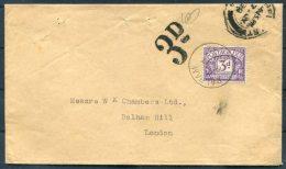 1930 GB 3d Postage Due Balham, London Cover - Tasse
