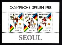 Surinam MNH Scott #814a Souvenir Sheet Of 3 Relay, Soccer. Pole Vault - 1988 Summer Olympics Seoul - Surinam