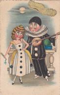 Bonne Fete Pierrot Illustrator Illustrateur Mar Waaier Fan Eventaille Romantiek Romance Love Amour Music Muziek Gitaar - Cirque