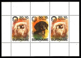 Surinam MNH Scott #B233a Souvenir Sheet Of 3 Pekingese (2), Dachshund - Dogs - Surinam