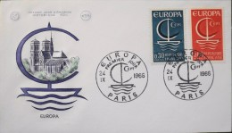 ENVELOPPE 1er Jour 1966 - EUROPA - Paris Le 24.09.1966 - TBE - - 1966