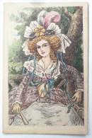 Litho Dessin Illustrateur J. PICOT Femme Marquise Robe Elegante Chapeau Plumes Eventail Assise  Sur Banc - Mujeres
