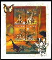 Zaire MNH Sheet Of 4 5000nz Giraffes, Scout Emblem - Zaïre