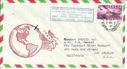 PRIMO VOLO DIRETTO TRANSPOLARE ROMA CALIFORNIA 4.10.1957 CON BELLA AFFRANCATURA E TIMBRI DI ARRIVO - 1946-60: Marcofilia