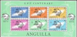 E)1974 ANGUILLA, UPU CENTENARY, CARIBBEAN SEA, MAP, PEOPLE,  BLOCK OF 6, MNH - Anguilla (1968-...)