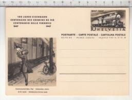 SBB CFF FFS - 1847 1947 - 100 Jahre Eisenbahn / Centenaire Des Chemis De Fer / Centenario Delle Ferrovie - Entiers Postaux