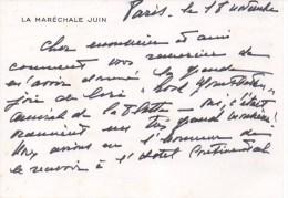 Carte Autographiée De  La Maréchale JUIN,  Adressée Au Colonel REMY - Autógrafos