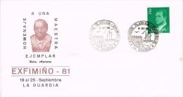 16915. Carta Exposicion LA GUARDIA (Pontevedra) 1981. Exfimiño 81. Doña Aurora, Maestra - 1931-Hoy: 2ª República - ... Juan Carlos I