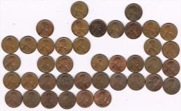 Lote 40 Monedas Diferentes 1 Ctvo LINCOLN, Letra Ceca D, Años 1947-1995 - Federal Issues