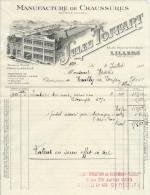 Facture Ancienne Jules TOFFART Manufacture De CHaussures Lillers Pas De Calais 62  4 Juillet 1933 - Textile & Clothing