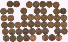 Lote 50 Monedas Diferentes 1 Ctvo LINCOLN, Sin Letra, Años 1941-1998 - Émissions Fédérales