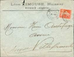 FRANCE ALGERIE LETTRE HUISSIER  BOUGIE 23/10/1910 POUR VILLEFRANCHE DE ROUERGUE SEMEUSE 10C TB - 1906-38 Semeuse Camée