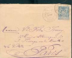 FRANCE ALGERIE LETTRE SIDI BEL-ABBES POUR PARIS AOUT1889 SAGE 15C TB - 1876-1898 Sage (Type II)