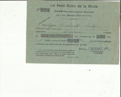 Document Du ( Petit Echo De La Mode ) A Paris Adressé A Mme Maleville -Sully A Domme 24 En 1901 - Facturas & Documentos Mercantiles