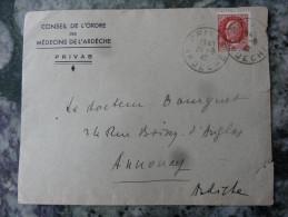 """1,5fr Petain Sur Enveloppe """"Conseil De L'Ordre Des Medecins De L'Ardeche"""" Privas 1942 - 1921-1960: Moderne"""