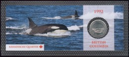 "Canada 25 Cent 1992 Motiv: Wale ""British Columbia"" Orig. Bilster, UNC. - Canada"