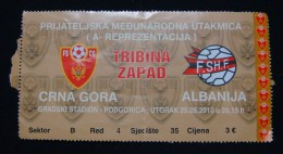 INTERNATIONAL FRIENDLY MATCH 2010, MONTENEGRO - ALBANIA, 25 May 2010 Seat 35, GOOD QUALITY. USED. - Match Tickets