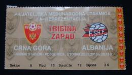 INTERNATIONAL FRIENDLY MATCH 2010, MONTENEGRO - ALBANIA, 25 May 2010 Seat 12, GOOD QUALITY. USED. - Match Tickets