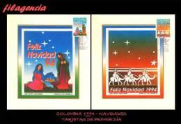 AMERICA. COLOMBIA. ENTEROS POSTALES. TARJETA PRIMER DÍA 1994. NAVIDADES. IMAGEN IMPRESA EN LIENZO - Colombia