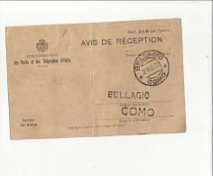 101251 AVIS DE RECEPTION BELLAGIO DES POSTES ET DES TELEGRAPHES D' ITALIE - Non Classificati