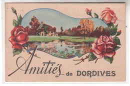 45 Amitiés De DORDIVES - Dessin En Médaillon Ferme Avec étang Bouquet De Roses - CPA Couleur - Dordives