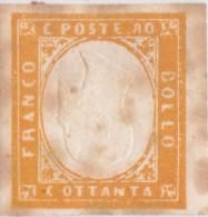 SI53D Italia Sardegna 1855 80 C. - Effigie Di Vittorio Emanuele II CAPOVOLTA Nuovo MLH - Sardegna