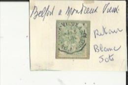 1 Timbre _Tampon Convoyeur - _Belfort__Montreux-Vieux -Blanc 5 Cts _Retour - Marcophily (detached Stamps)