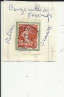 1 Timbre _Tampon Convoyeur - _Beuzeville--a--Fecamp -Semeuse 10 Cts _Retour - Marcophily (detached Stamps)