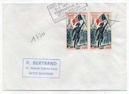 1972-Paire Horizontale Tp N°1730-Bonaparte Pont Arcole Sur Lettre BAYONNE-cachet Flamme VILLEFRANCHE-69 - Marcophilie (Lettres)