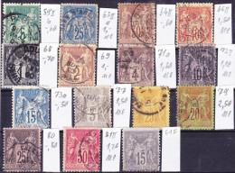 2016-0063 France Lot Sage Oblitéré O - 1876-1898 Sage (Type II)