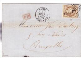 N 30, Sur Lettre Oblitéré Etoile 8 R D Antin - 1849-1876: Periodo Classico