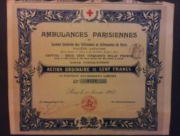 Lot  2   Ambulances Parisiennes Action 100 FR De 1903 - Aandelen