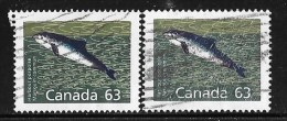 CANADA #1176-76a, USED,  HARBOUR PORPOISE, Marsouin Commun, Poisson, Mamifere, PERF 14.4 & 13.1 - 1952-.... Règne D'Elizabeth II