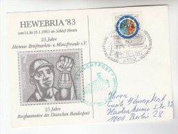 1983 Germany MINING MINERALS EVENT COVER (card)  Stamps - Minerals