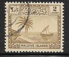 Maldive Is. Scott # 20 Used Palm Tree And Seascape, 1950 - Maldivas (...-1965)