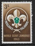 Maldive Is. Scott #130 Mint Hinged Scout Jamboree,1963 - Maldives (...-1965)