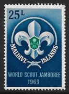 Maldive Is. Scott #131 Mint Hinged Scout Jamboree,1963 - Maldives (...-1965)