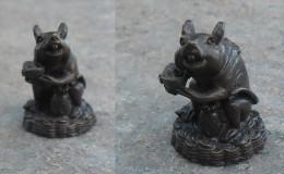Indochine Vietnam Bronze Miniature Rat Fonte Cire Perdue Statuette - Bronzes