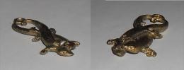 Bronze Miniature Couple De Geckos Fonte Cire Perdue Statuette - Bronzes