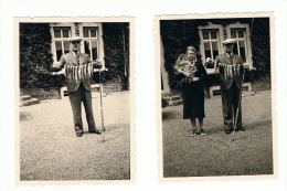 Lot De 2 Photos ( +/- 6 X 9 Cm) Belle Pêche, Pêcheur - Truites De La Semois 1939 (ALB) - Sports