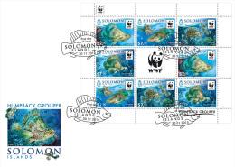 SOLOMON ISLAND 2015 FDC WWF Humpback Grouper Buckel Zackenbarsch M/S 8v - OFFICIAL ISSUE - A1607 - Unused Stamps