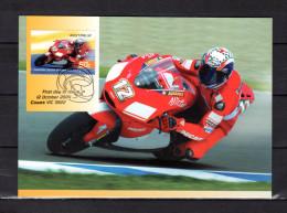 """AUSTRALIE 2004 : Carte Maximum Et PAP Neuf """" VAINQUEURS DE GRAND PRIX MOTOS : TROY BAYLISS """". Parfait état. CM - Moto"""