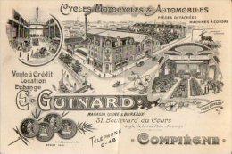 VP2956 - CDV - Carte De Visite - Cycles Motocycles & Automobiles E. GUINARD à COMPIEGNE - Cartoncini Da Visita