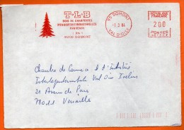 95 DOMONT BOIS DE CHARPENTE MENUISERIES   1984 Devant De Lettre N° EMA 3435 - EMA ( Maquina De Huellas A Franquear)